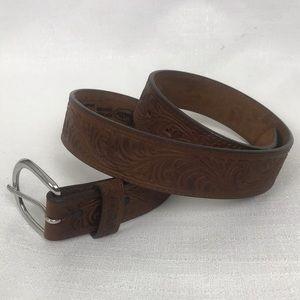 Justin Tooled Leather Western Boho Belt